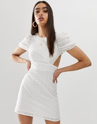 Fashion Union Broderie Mini Dress With Lace Up Back White