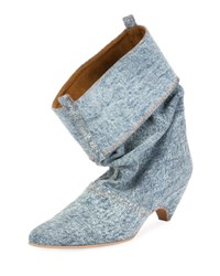 Stella Mccartney Runway Denim Scrunched Boot Blue