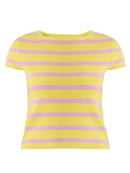 Barrie Striped Cashmere Top Yellow Stripe