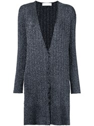 Le Ciel Bleu Long Button Cardigan Women Polyester Rayon 36 Black