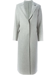 Msgm Long Line Overcoat Grey