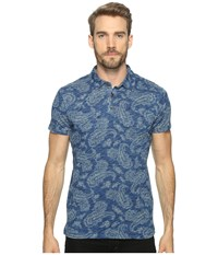 Lucky Brand Indigo Polo Printed Indigo Men's Clothing Blue