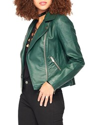 Miss Selfridge Leatherette Biker Jacket Dark Green