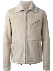 Alexander Mcqueen Shearling Lined Jacket Nude And Neutrals