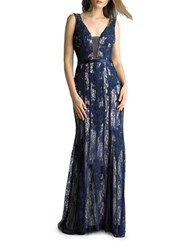 Basix Ii Sleeveless V Neck Embroidered Gown Nude Navy