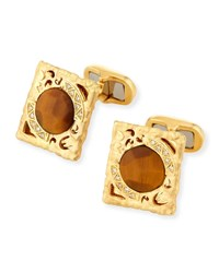 Marco Dal Maso Tiger Eye And Diamond Cufflinks In 18K Gold