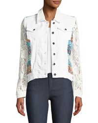 Berek Temptation Lace Sleeve Denim Jacket Petite White
