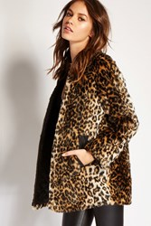 Forever 21 Leopard Print Faux Fur Jacket Tan Black