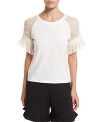 See By Chloe Cotton Jersey And Point D'esprit Tee Off White