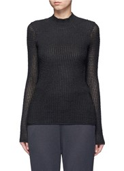 Maiyet Cashmere Silk Open Knit Turtleneck Sweater Grey