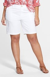 Plus Size Women's Sejour 'Addison' Stretch Twill Bermuda Shorts White