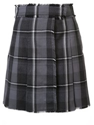 Thom Browne Plaid Raw Edge Wrap Skirt Grey