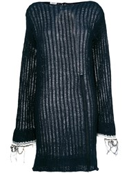 Aviu Open Knit Sweater Dress Blue