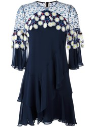 Peter Pilotto Floral Crochet Overlay Dress Blue