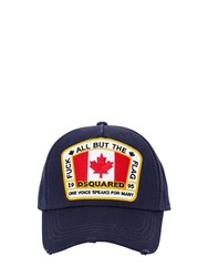 Dsquared Flag Patch Cotton Canvas Baseball Hat Navy