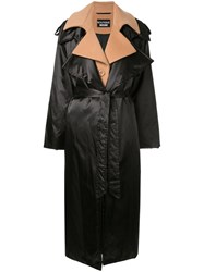 Boutique Moschino Layered Effect Trench Coat Black