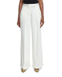 Dkny Pleated Wide Leg Crepe Pants Gesso Gesso Ivory