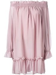 Alexander Mcqueen Off The Shoulder Smocked Tunic Dress Pink Purple