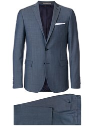 Paoloni Micro Checked Slim Fit Suit Blue