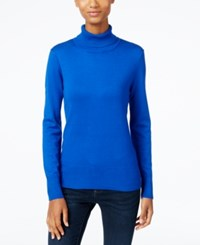 Cable And Gauge Ribbed Turtleneck Sweater Blue Jewel