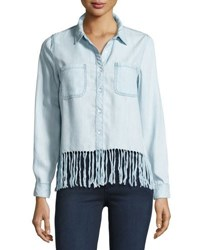 Philosophy Fringe Trim Chambray Blouse Blue
