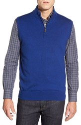 Men's Peter Millar Quarter Zip Merino Wool Vest Royal