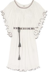 Talitha Shore Serena Ruffled Embroidered Crinkled Cotton Dress White
