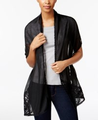 Inc International Concepts Asymmetrical Lace Wrap And Scarf In One Only At Macy's Black