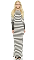 Ad Crew Neck Long Sleeve Maxi Dress Stripe Black Leather