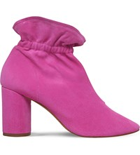 Kg By Kurt Geiger Raglan Suede Heeled Ankle Boots Pink