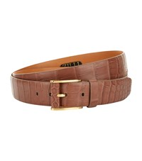 Zilli Matte Crocodile Skin Belt Brown