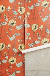 Anthropologie Draping Poppies Wallpaper Medium Orange