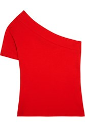 Jacquemus One Shoulder Cotton Jersey Top Red