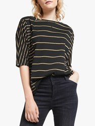 And Or Maya Glitter Stripe T Shirt Black Gold
