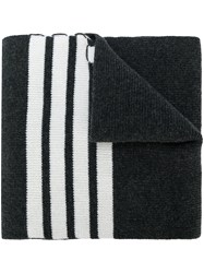 Thom Browne Full Needle Rib Scarf With White 4 Bar Stripe In Cashmere Cashmere Grey