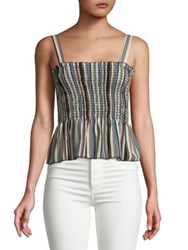 Design Lab Lord And Taylor Striped Peplum Tank Blush Multi