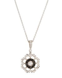 Penny Preville 18K Black And White Diamond Scalloped Floral Pendant Necklace