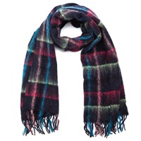 Paul Smith Accessories Women's Mohair Check Scarf Navy