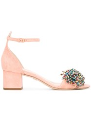 Elie Saab Bead Embellished Sandals Women Leather Suede Stone 38 Pink Purple