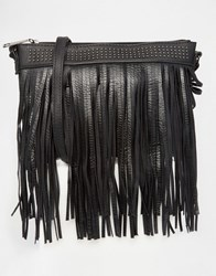 Liquorish Fringe Cross Body Bag Black