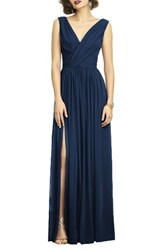 Dessy Collection Women's Surplice Ruched Chiffon Gown Midnight