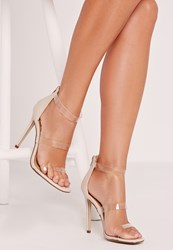Missguided Perspex 3 Strap Barely There Heeled Sandals Nude Beige