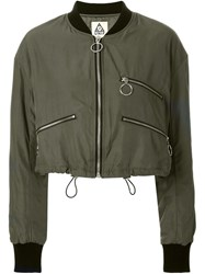 Unif Cropped Bomber Jacket Green