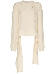 Magda Butrym Braid City Cable Knit Sweater Neutrals