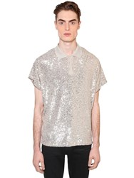 Saint Laurent Sequined Lurex Jersey Polo Champagne
