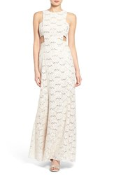 Women's Morgan And Co. Side Cutout Lace Gown