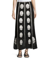 Figue Embroidered Silk Maxi Skirt Onyx