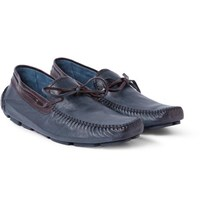 Berluti Leather Driving Shoes Navy