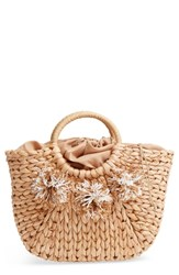 Street Level Woven Straw Tote Beige Natural