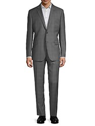Saks Fifth Avenue Black Windowpane Wool Suit Grey
